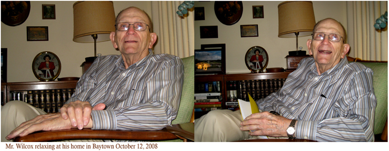 Mr. Wilcox relaxing at his home in Baytown October 2008